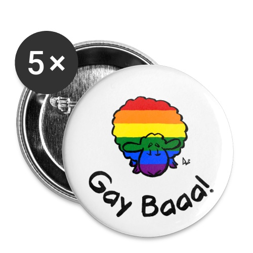 Gay Baaa! Rainbow Pride Sheep - Buttons/Badges lille, 25 mm (5-pack)