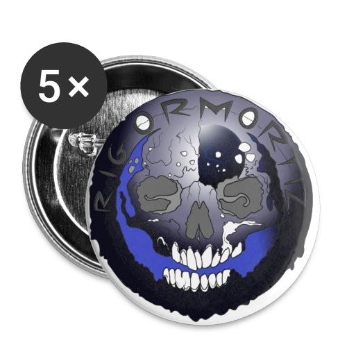 Rigormortiz Metallic Blue-Black Design - Buttons small 1''/25 mm (5-pack)