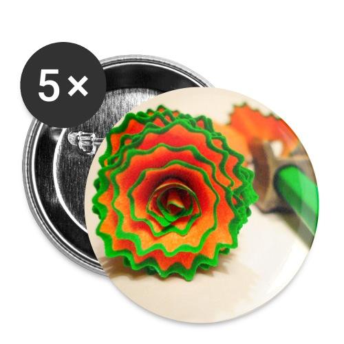 Crayon vert - Lot de 5 petits badges (25 mm)