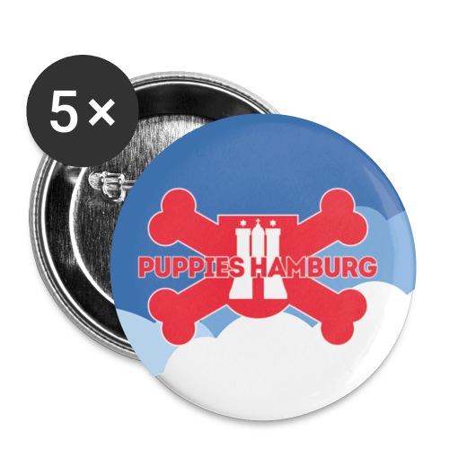 Puppies Hamburg Logo mit Hintergrund - Buttons klein 25 mm (5er Pack)
