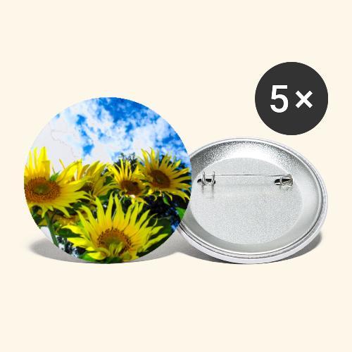 Sonnenblumen, blauer Himmel, Sonnenblume, Wolken - Buttons klein 25 mm (5er Pack)