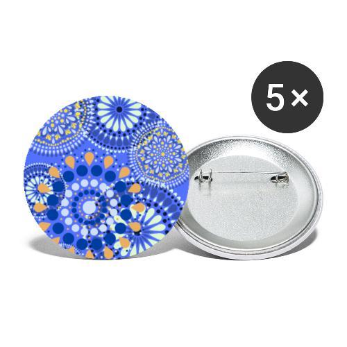 Fleur Hippie bleu - Lot de 5 petits badges (25 mm)