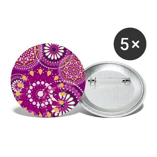 Fleur Hippie mauve - Lot de 5 petits badges (25 mm)