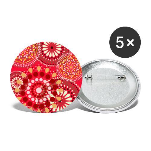 Fleur Hippie rouge - Lot de 5 petits badges (25 mm)