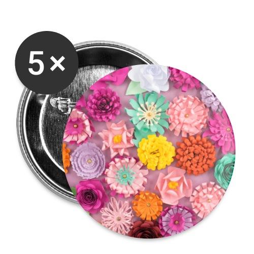 Papierblumen - Buttons klein 25 mm (5er Pack)