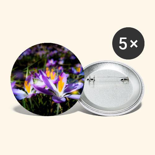 Blumenwiese, lila blühende Blumen, Blüten, floral - Buttons klein 25 mm (5er Pack)