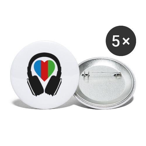 Silent Disco Herz RGB - Buttons klein 25 mm (5er Pack)