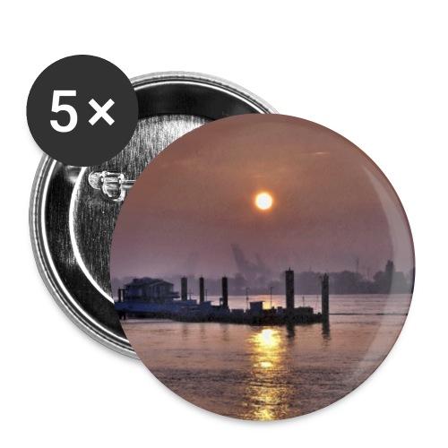 Sonnenaufgang im Hamburger Hafen - Buttons klein 25 mm (5er Pack)