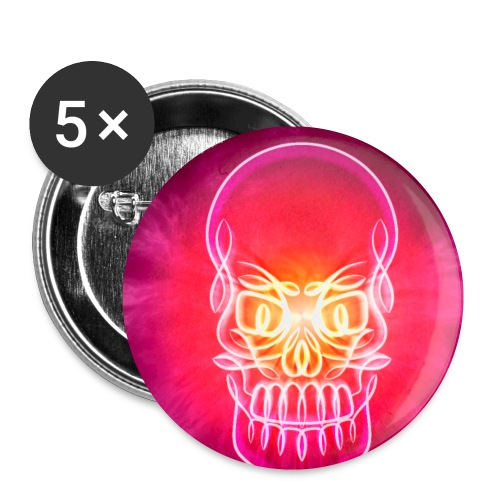 Neon Glowing Skull - Buttons small 1''/25 mm (5-pack)