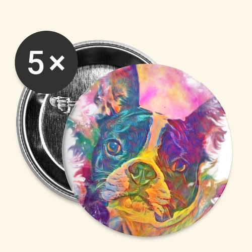BULLDOG FRANCES - Paquete de 5 chapas pequeñas (25 mm)