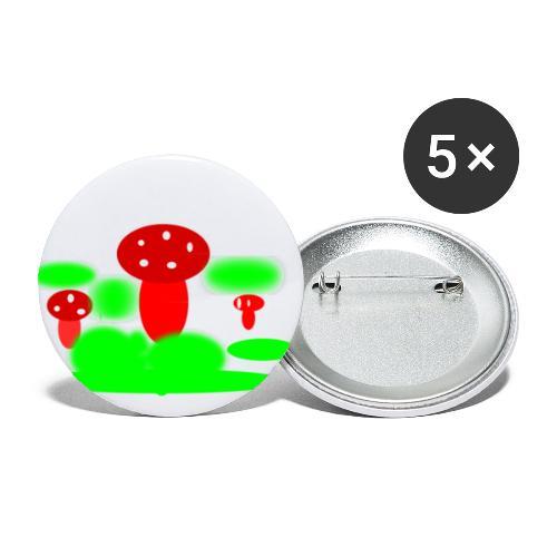 Mushrooms - Små knappar 25 mm (5-pack)