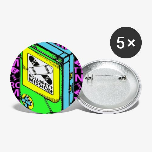 Schwarzer Spielspaß - Buttons klein 25 mm (5er Pack)