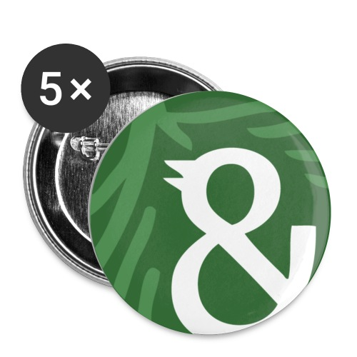kun og fugl png - Buttons/Badges lille, 25 mm (5-pack)