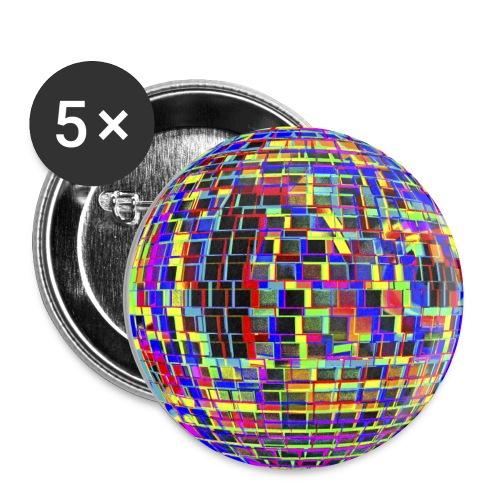 Boule à facettes psychédélique - Lot de 5 petits badges (25 mm)