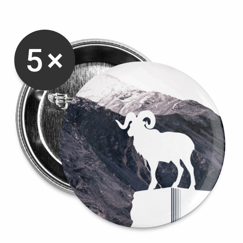 Hiking Outdoor Design mit Bergziege - Bergpanorama - Buttons klein 25 mm (5er Pack)