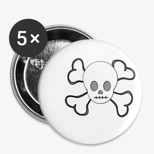Weißer Totenkopf - Buttons klein 25 mm