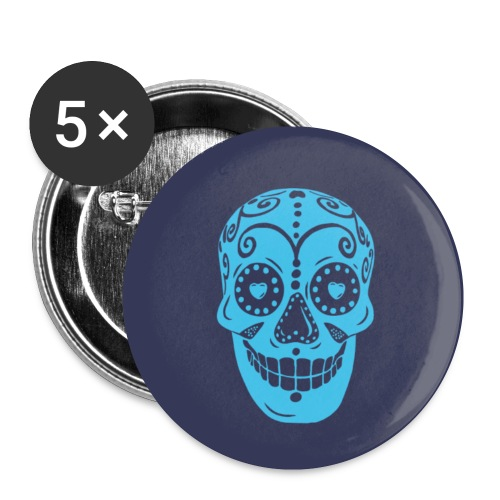Blue Skully - Buttons small 1''/25 mm (5-pack)