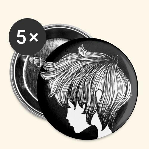 Girl - Confezione da 5 spille piccole (25 mm)