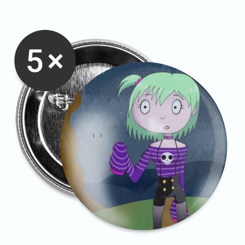 Spooky Cute Girl - Monster Itani - Paquete de 5 chapas pequeñas (25 mm)