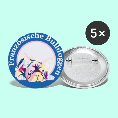 Französische Bulldoggen rosa blau - Buttons klein 25 mm (5er Pack)