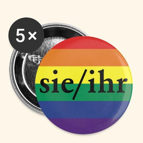 Pronomen Button SIE/IHR + Pride Regenbogen - Buttons klein 25 mm (5er Pack)