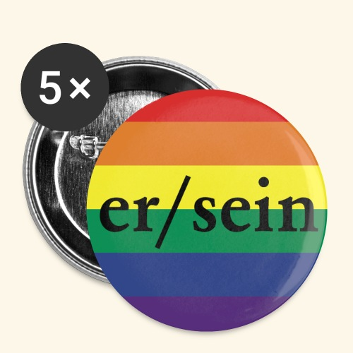 Pronomen Button ER/SEIN + Pride Regenbogen - Buttons klein 25 mm (5er Pack)