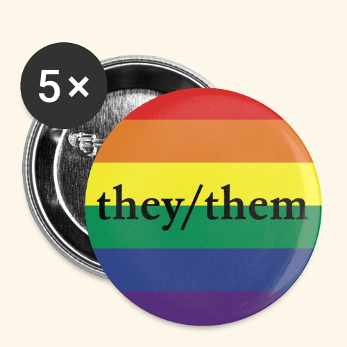 THEY THEM PRIDE FLAG - Buttons klein 25 mm (5er Pack)