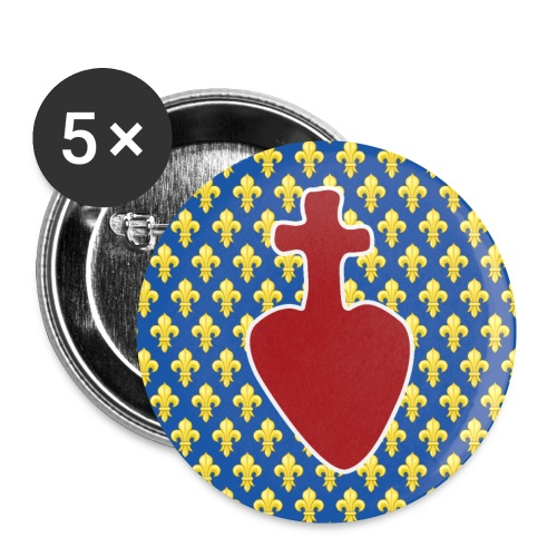 Sacré Cœur & fleurs de lys - Lot de 5 petits badges (25 mm)