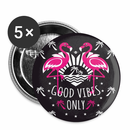 01 Flamingos Good Vibes Only Margarita Art - Buttons klein 25 mm (5er Pack)
