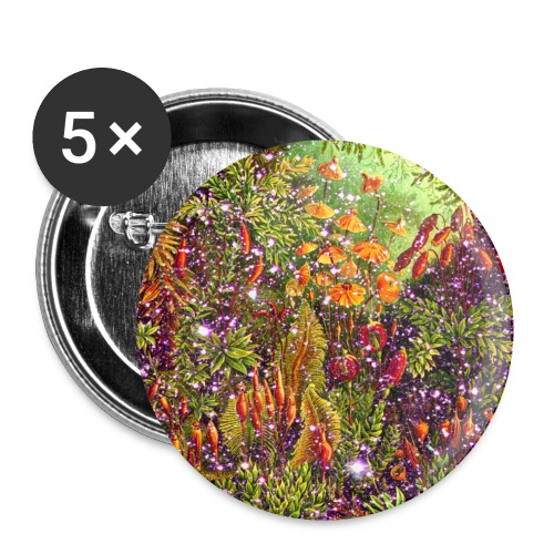 Magic forest flowers meadow fairy tale Fantasia fairy forest - Buttons small 1''/25 mm (5-pack)