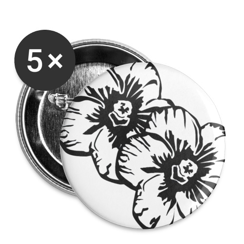 blumen - Buttons klein 25 mm (5er Pack)