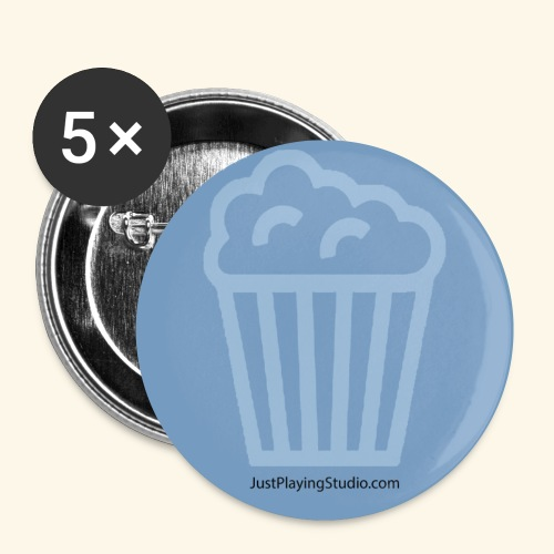Badge bleu JustPlayingStudio.com - Lot de 5 petits badges (25 mm)