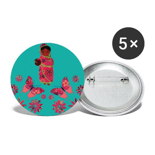 Lovedesh Art: Ira Kolshi Doll & Butterflies - Buttons small 1''/25 mm (5-pack)