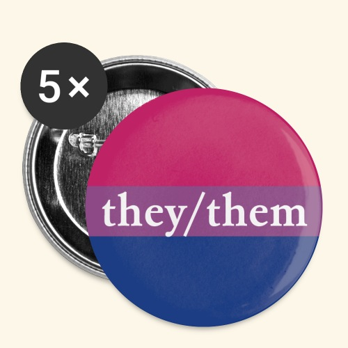 THEY THEM - BI FLAG - Buttons klein 25 mm (5er Pack)