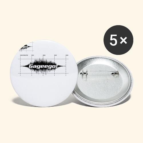 Gageego logga vit text - Små knappar 25 mm (5-pack)