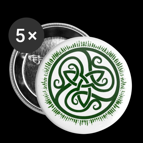 Green Celtic Triknot - Buttons small 1''/25 mm (5-pack)