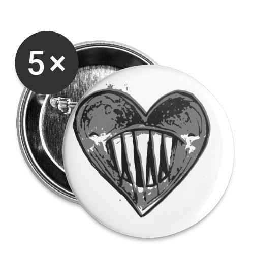 Corazón Negro - Paquete de 5 chapas pequeñas (25 mm)