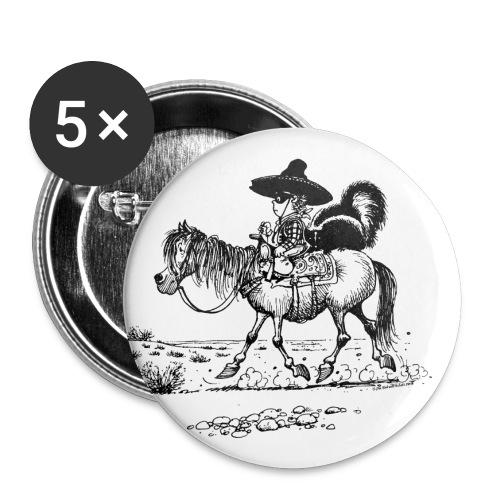 Thelwell Cowboy mit einem Stinktier - Buttons klein 25 mm (5er Pack)