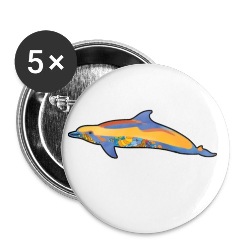 Colorful dolphin - Buttons small 1''/25 mm (5-pack)