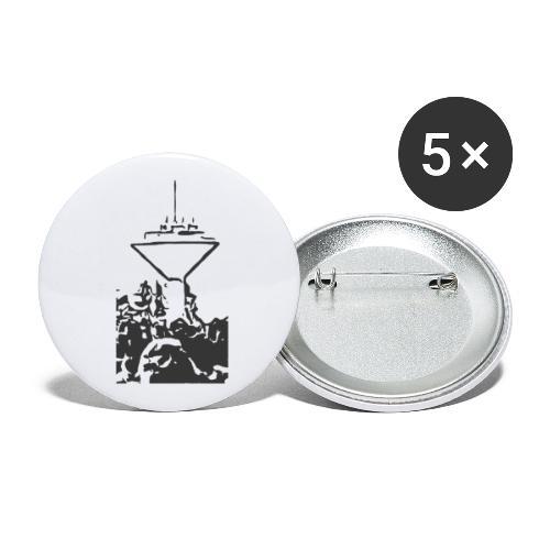 Wasserturm Rottweil schwarz - Buttons klein 25 mm (5er Pack)