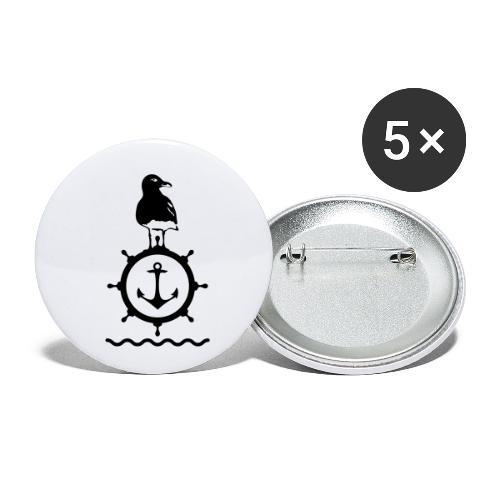Möwe Steuerrad Anker Wellen Küste Meer Hafen - Buttons klein 25 mm (5er Pack)