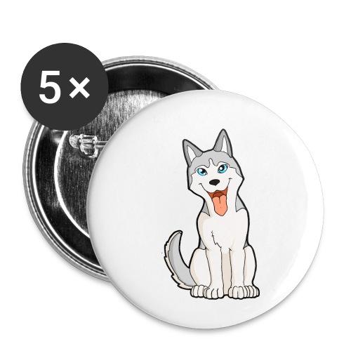 Husky grigio occhi azzurri - Confezione da 5 spille piccole (25 mm)