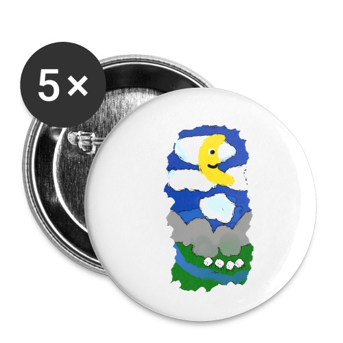 smiling moon and funny sheep - Buttons small 1''/25 mm (5-pack)