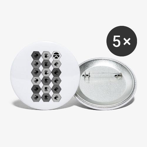|K·CLOTHES| HEXAGON ESSENCE GREYS & WHITE - Paquete de 5 chapas pequeñas (25 mm)