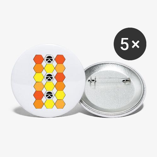 |K·CLOTHES| HEXAGON ESSENCE ORANGES & YELLOW - Paquete de 5 chapas pequeñas (25 mm)