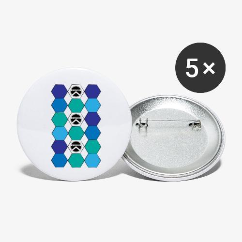 |K·CLOTHES| HEXAGON ESSENCE BLUES & WHITE - Paquete de 5 chapas pequeñas (25 mm)