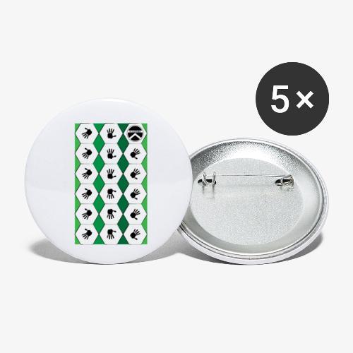 |K·CLOTHES| HEXAGON ESSENCE GREENS & WHITE - Paquete de 5 chapas pequeñas (25 mm)
