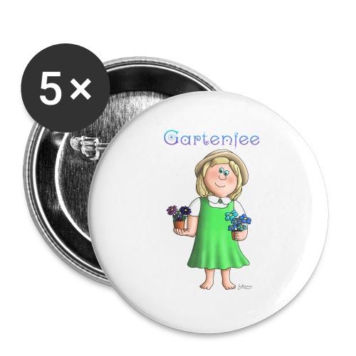 Süßes Garten Mädchen - Gartenfee - Buttons klein 25 mm (5er Pack)