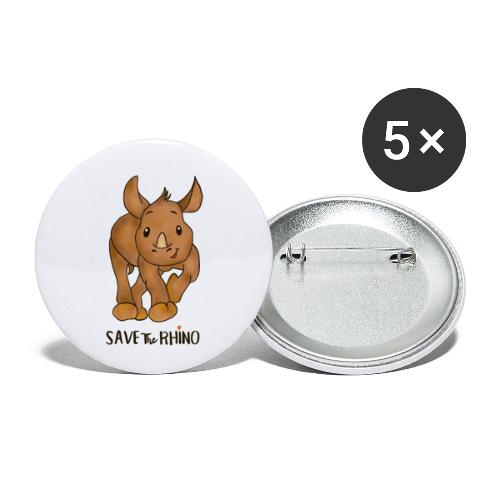 Save the Rhino - Buttons small 1''/25 mm (5-pack)