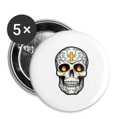tete de mort - Lot de 5 petits badges (25 mm)